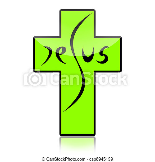 Stock Illustration of Jesus on the Cross - Jesus inscription on ...