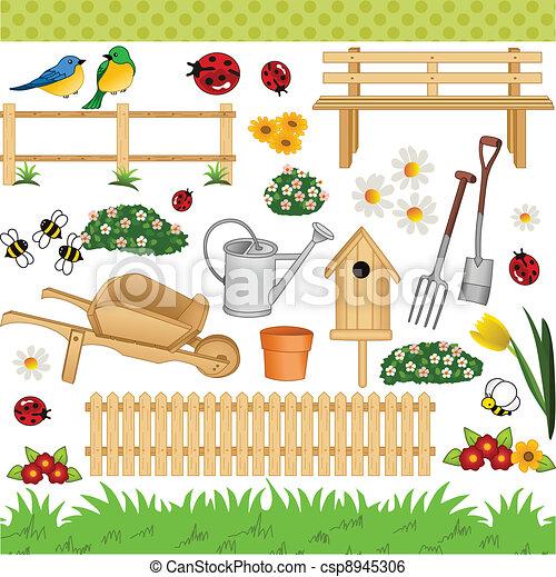 Garden digital collage - csp8945306