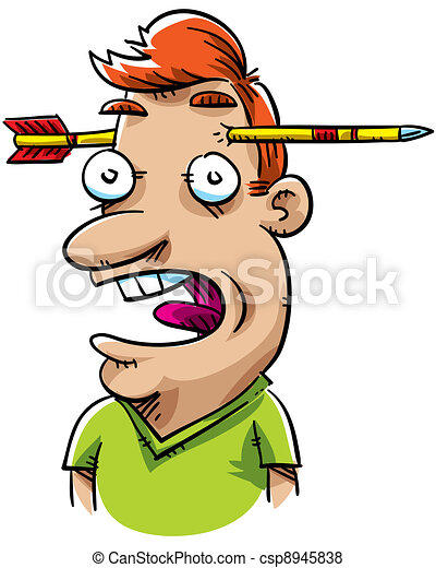 Stock Illustration of Arrow Surprise - A cartoon man's ...