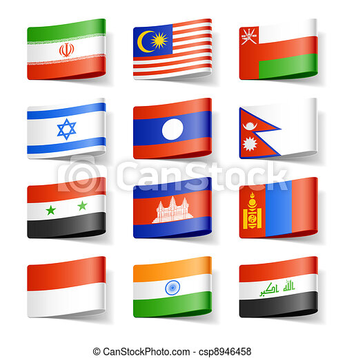 World flags. Asia.  - csp8946458