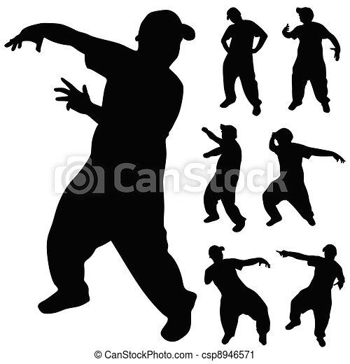 hip hop dancer silhouette - csp8946571