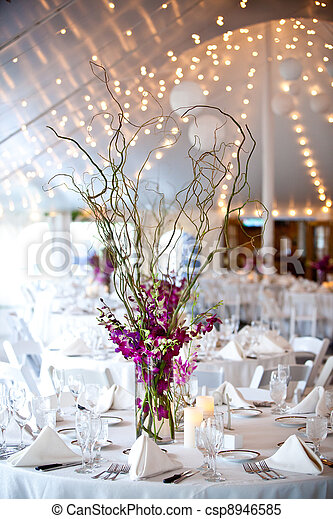 wedding tables set for fine dining - csp8946585