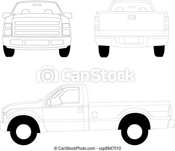 Pick-up truck line illustration - csp8947010