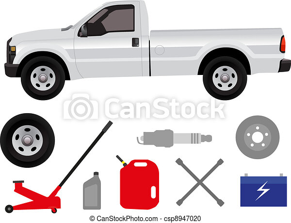 Pick-up truck with group of repair  - csp8947020