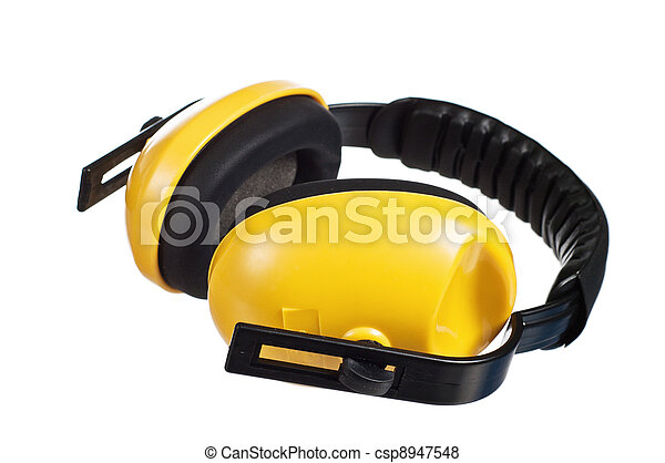 Yellow working protective headphones, it is isolated on white - csp8947548