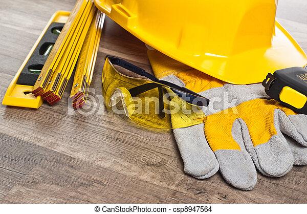 fim, equipamento, segurança, cima, Engrenagem - csp8947564