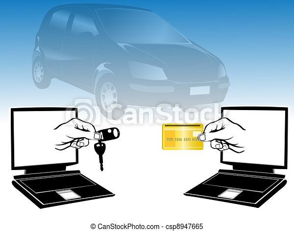 vecteur clipart de voiture sur vente internet vente voiture sur csp8947665. Black Bedroom Furniture Sets. Home Design Ideas