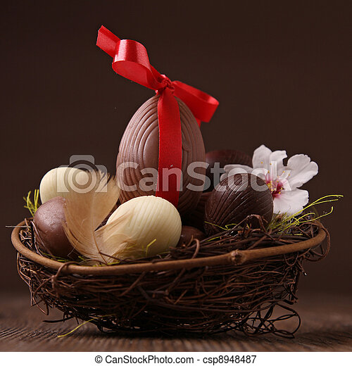 easter nest and egg - csp8948487