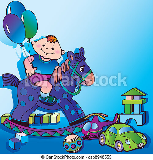 Boy with toys. - csp8948553