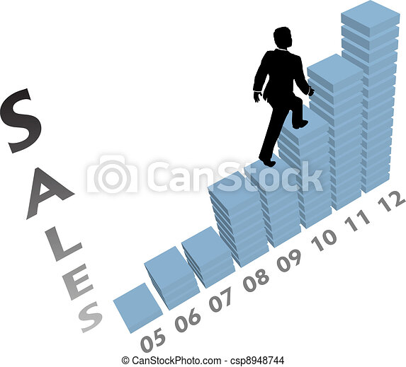 Business person climbs up marketing sales chart - csp8948744