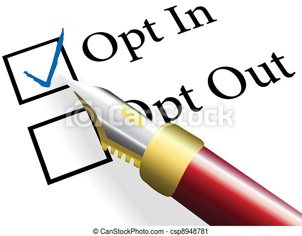 Pen check choose Opt In choice option - csp8948781