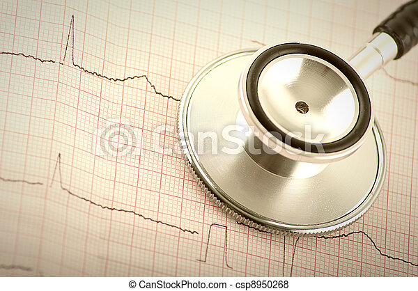 Part of medical stethoscope and electrocardiogram (ECG, EKG) close up - csp8950268