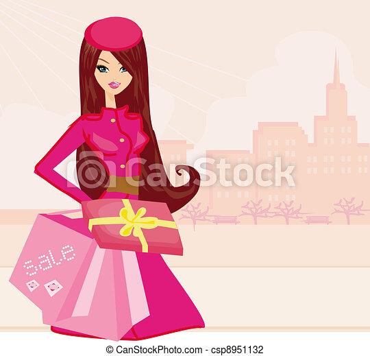 Fashion Girl Clipart Fashion Shopping Girl With