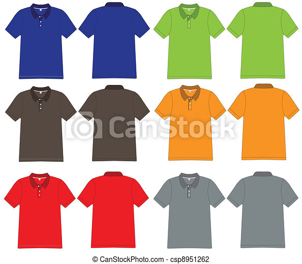 pólo, vetorial, desenho, camisa, modelo - csp8951262