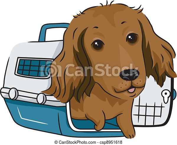 Vector of Dog Crate - Illustration of a Long Haired Dachshund in a ...