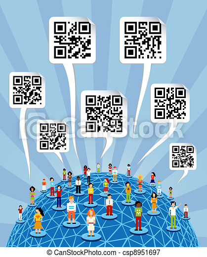 Global social media World with QR codes signs - csp8951697