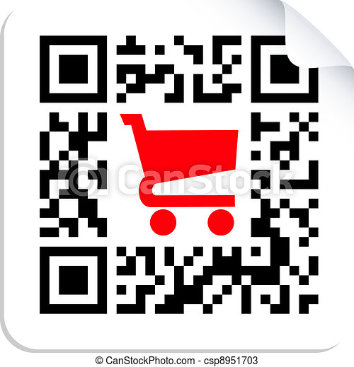 Buy label sign QR code  - csp8951703