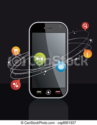 Smartphone device with application on black - csp8951937