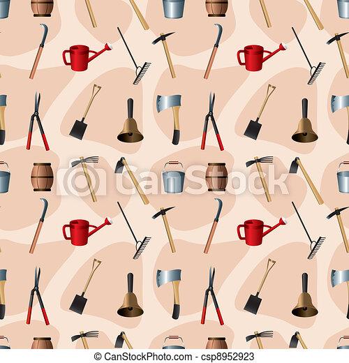 Gardening tools seamless pattern - csp8952923