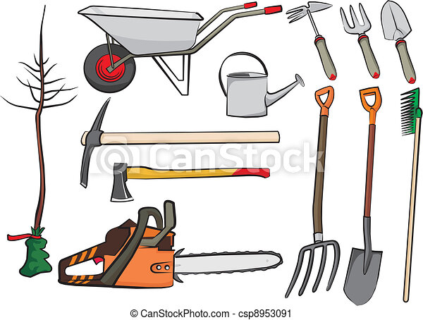 Clip art vecteur de jardinage outils main jardin for Dessin outils jardinage