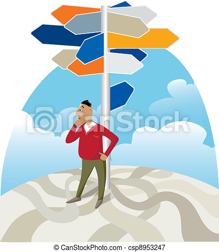 Looking for direction at signpost - csp8953247