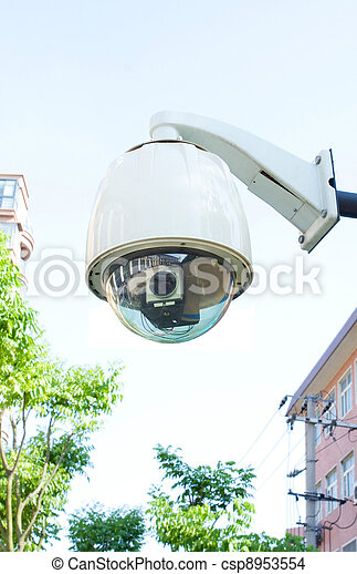 Security camera (Clipping path!) - csp8953554