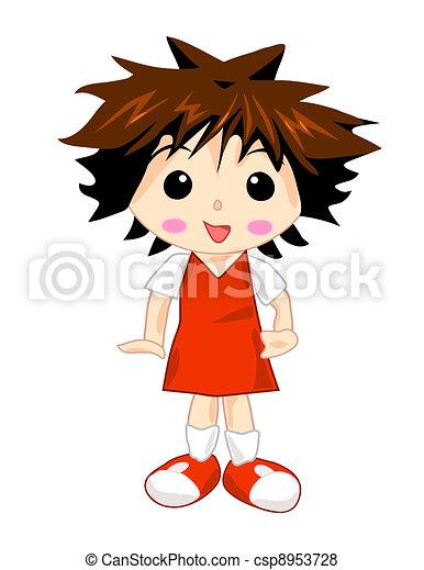 School Girl in Red Uniform - csp8953728