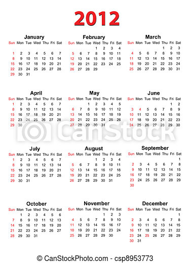 Calendar for 2012 on white, vector format - csp8953773