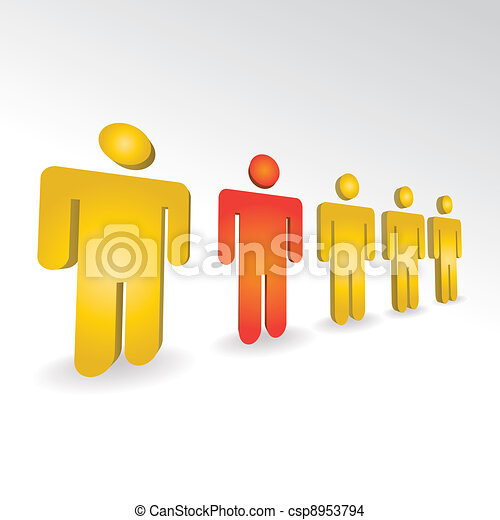people in a 3D row - csp8953794