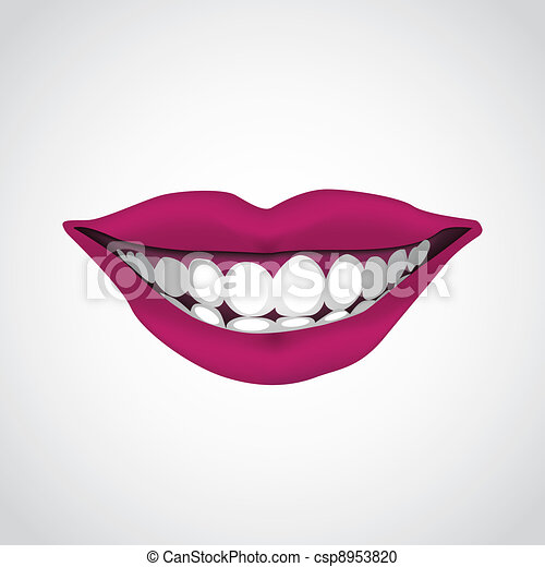 beautiful woman?s  mouth smiling - illustration - csp8953820