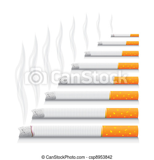 isolated smoking cigarettes - detailed realistic illustration - csp8953842