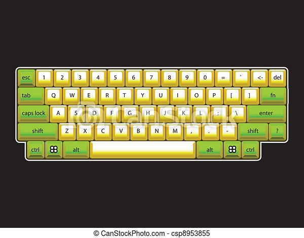 isoated computer keyboard layout - realistic illustration - csp8953855