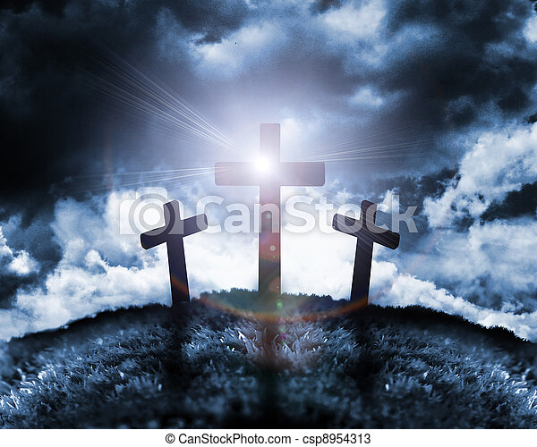 Silhouette of three crosses on a hill - csp8954313