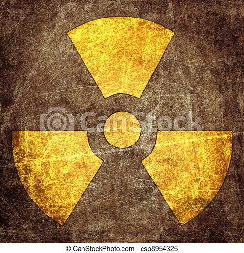 sign of radiation on the grunge wall - csp8954325