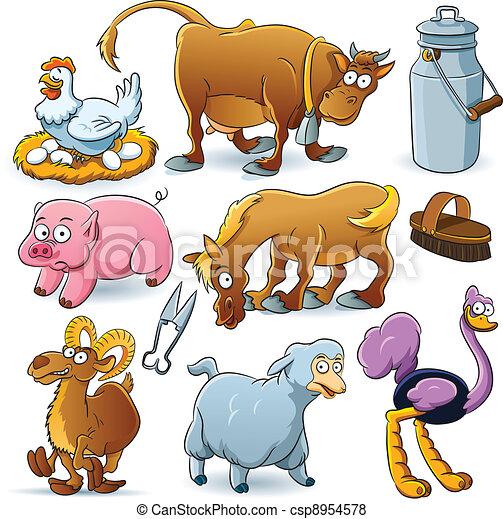 Vettore di fattoria animali collezione cartone animato for Piani di fattoria stonegate