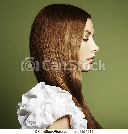 Fashion photo of a young woman with red hair - csp8954841