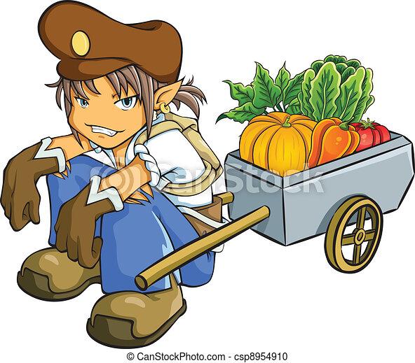 Merchant Selling Vegetables - csp8954910