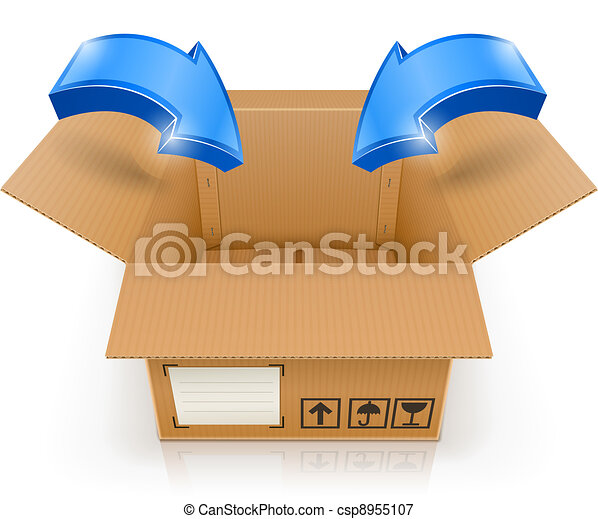 opened box with arrow inside - csp8955107