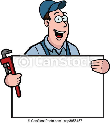 Plumber with sign - csp8955157