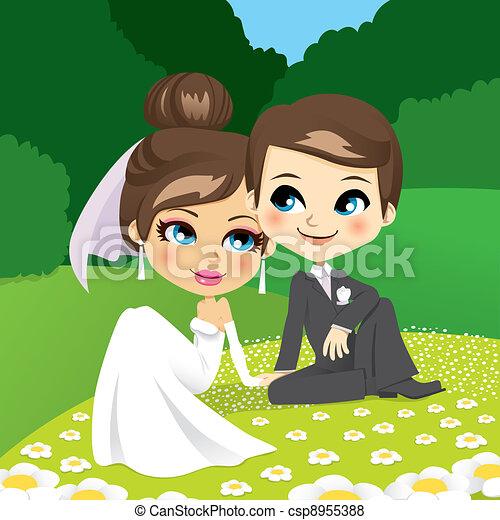 Newlyweds Sitting on Garden - csp8955388