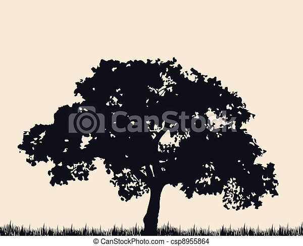 Silhouette of tree with grass. Vector - csp8955864