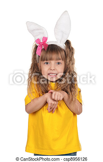 Little girl with bunny ears - csp8956126