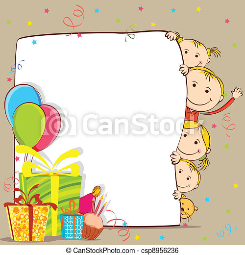 Clip Art Vector of Kids Celebrating Birthday - illustration of ...