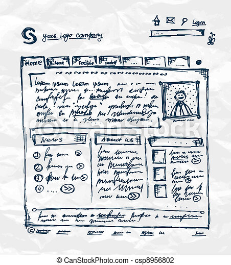 Hand drawing template of website on paper sheet - csp8956802