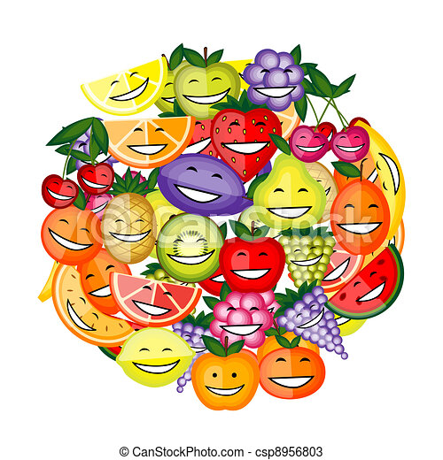 Funny fruit characters smiling together for your design - csp8956803