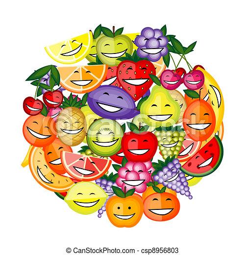 Vettori di divertente insieme frutta disegno caratteri for Clipart frutta