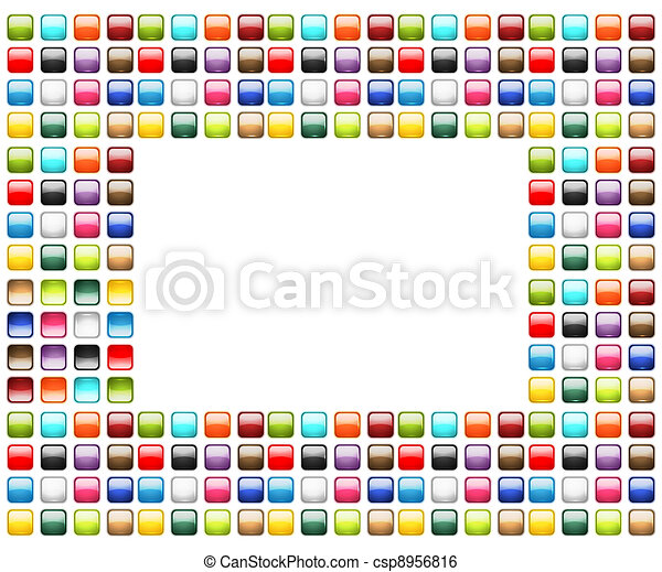 Art frame decorated from glossy buttons - csp8956816