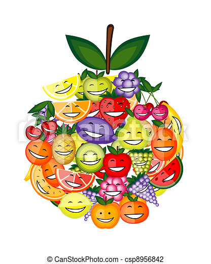 Funny fruit characters smiling together, apple shape for your design - csp8956842