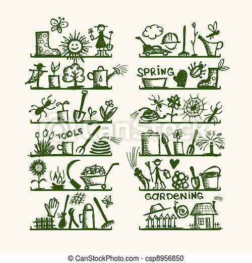 Vector clipart of garden tools on shelves sketch for your for Garden design graphics
