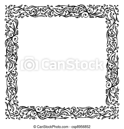 Ornamental frame, hand drawing for your design - csp8956852